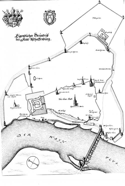 Grundriß der Stadt Aschaffenburg, Kupferstich aus Matthäus, Topographia Archipiscopatuum Moguntinensis... 1646