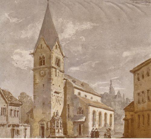 Pfarrkiche St. Agatha zu Aschaffenburg um 1880, Aquarell von Joseph Andreas Weiß