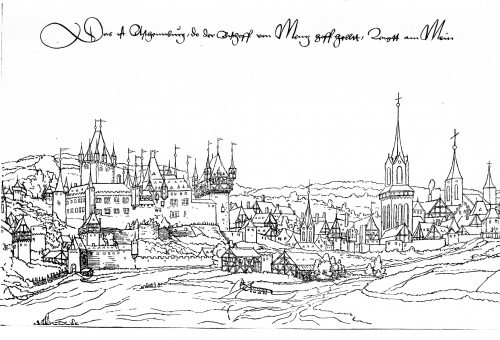 Schloss und Stadtansicht um 1540, Federzeichnung von Veit Hirsvogel d.J.