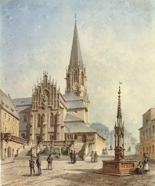 Stiftsplatz mit Stiftskirche 1883, Aquarell von Josef Andreas Weiss (1814-1887)